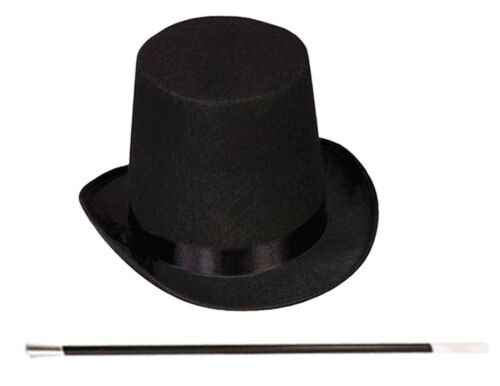 ADULT BLACK TOP HAT MAGIC WAND MAGICIAN WHITE GLOVES MAGIC SET FANCY DRESS