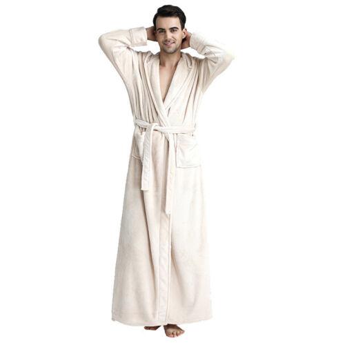 Mens Ladies Hooded Flannel Long Dressing Gown Coat Bathrobe Towelling Bath Robe