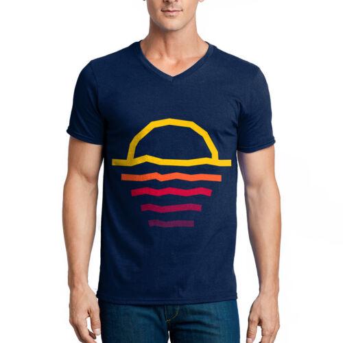 Sunset T-shirt Holiday Sundown lignes Colorful Summer Cheer Sun Beach 8Bit P294