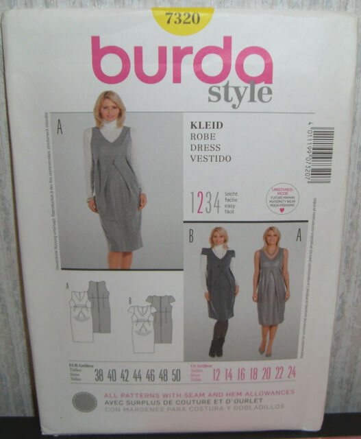 7360115b04a66 Burda Sewing Pattern Ladies Maternity Dress Silhouette 12 - 24 7320 ...