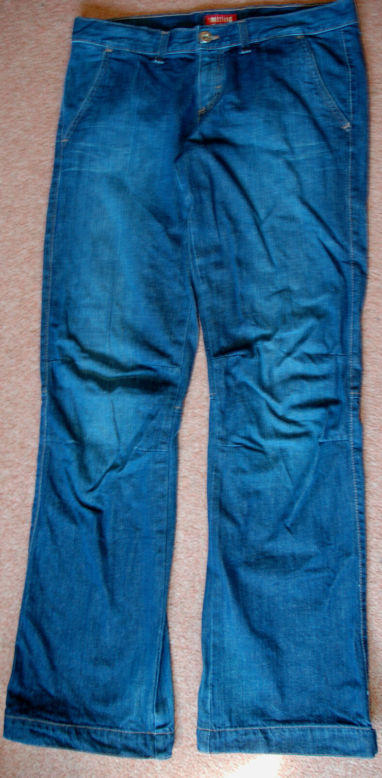 New Mustang 29x34 Long Tall Indigo Cotton Jeans Trousers Stiefel cut Tab Adj Ankle