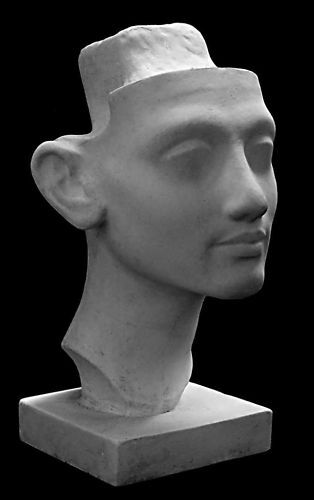 Sculpture Bust Nefertiti. Head, Art artwork. Wife of Egyptian Pharaoh Akhenaten