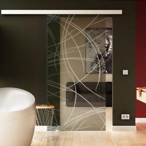 Glasschiebetur Komplettset Glas Glastur Satiniert Muschelgriff O