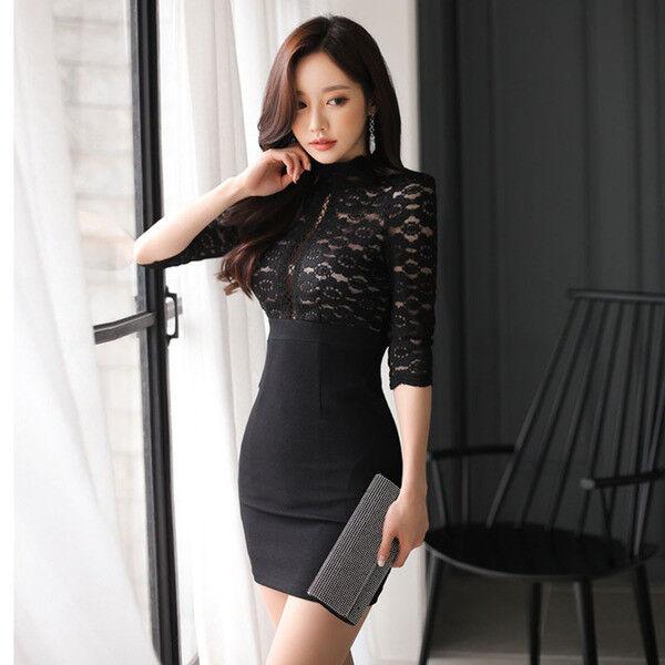 f756e0254ce9 vestito abito tubino nero scollato maniche aderente pizzo 4752 Elegante  morbido npoeyh8537-Vestiti