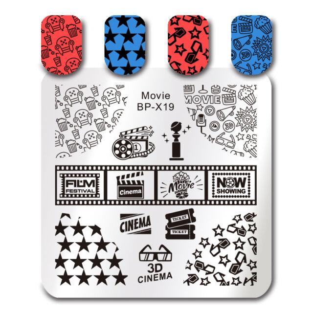 Born Pretty Square Nail Art Stamp Template Movie Design Image Plate