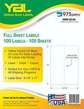 Ybl 85 X 11 Full Sheet Shipping Labels 100 Pk 1up Yellow Imprinted Backing