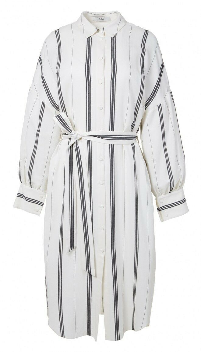 Tibi Warren Striped Shirt Dress Size XS