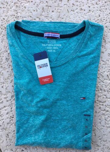 Tommy Hilfiger Denim Basic Green Heather Flag Crew Neck T-Shirt Tee Top XL