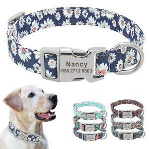 Personalised-Boho-Floral-Dog-Collars-Pet-Cat-Name-ID-Tag-Engraved-7-Colors-S-M-L