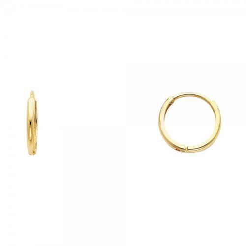 14K Yellow Gold Beautiful Real Solid 2mm Huggies Earrings Hinged 0.8grams 11mm
