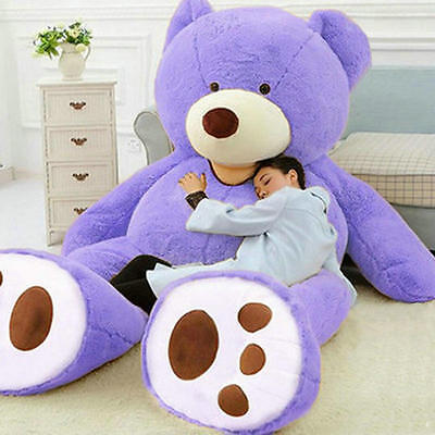"78/""//200cm Giant Huge Big Purple Teddy Bear Plush No Filler Animal Soft Toy Gifts"