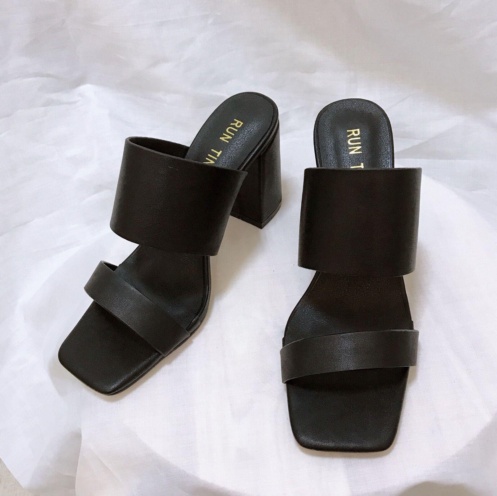 sandali 7 cm eleganti nero tacco quadrato sandali simil pelle 1099