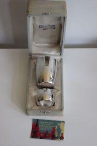 Becherförmiger Behälter Und Serviettenring aus Metall Weiß Stil Art Déco Era