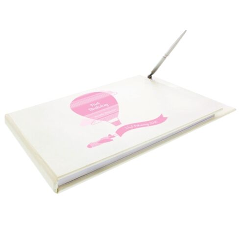Personalised Christening Day Holy Baptism Pink Blue Guestbook Signing Book /& Pen