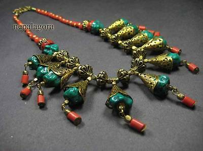 N3835 TIBET FASHION Turquoise Resin Glass Gold tone tribal gypsy NECKLACE Women