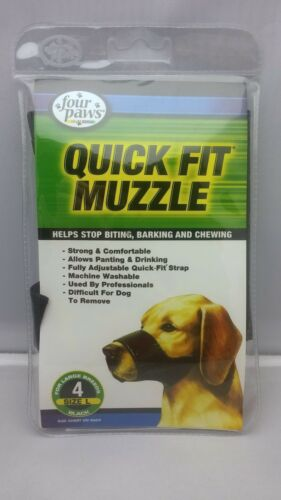 Four Paws Quick Fit DOG MUZZLE Machine Washable LARGE  BLACK Size 4
