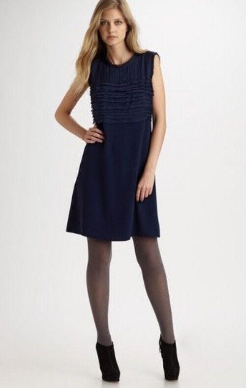 DKNY Navy bluee bluee bluee Pleated Layered Chest Area A-Line Dress 14 8b0b82