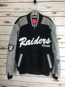 RARE-NFL-Oakland-Raiders-Suede-Jacket-Quilted-Football-Sz-M-Men-039-s-Vintage-Coat