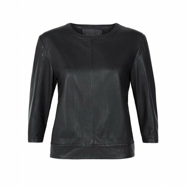 New Muubaa Sei Leather Jumper Top in schwarz Größe 10 uk RRP