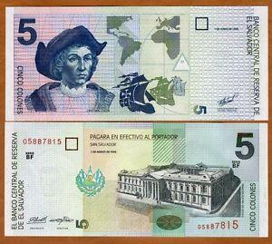 1990 El Salvador P-138 5 Colones Pre-USD$ UNC /> Columbus