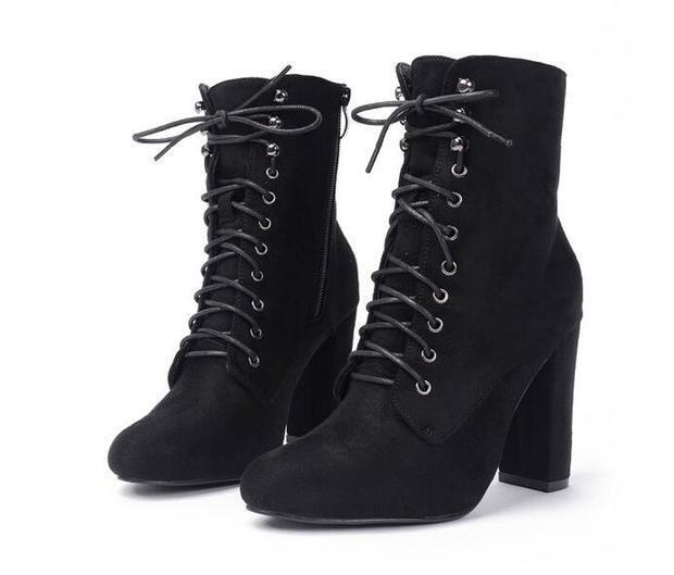 botas bajo zapatos alto 8 cm cm cm negro cordones elegantes como piel 9442  ahorra hasta un 80%
