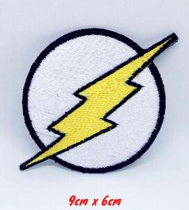 Flash-Logo-Noir-Bordures-Bd-Personnage-Brode-Repasser-ou-Patch-a-Coudre-329B