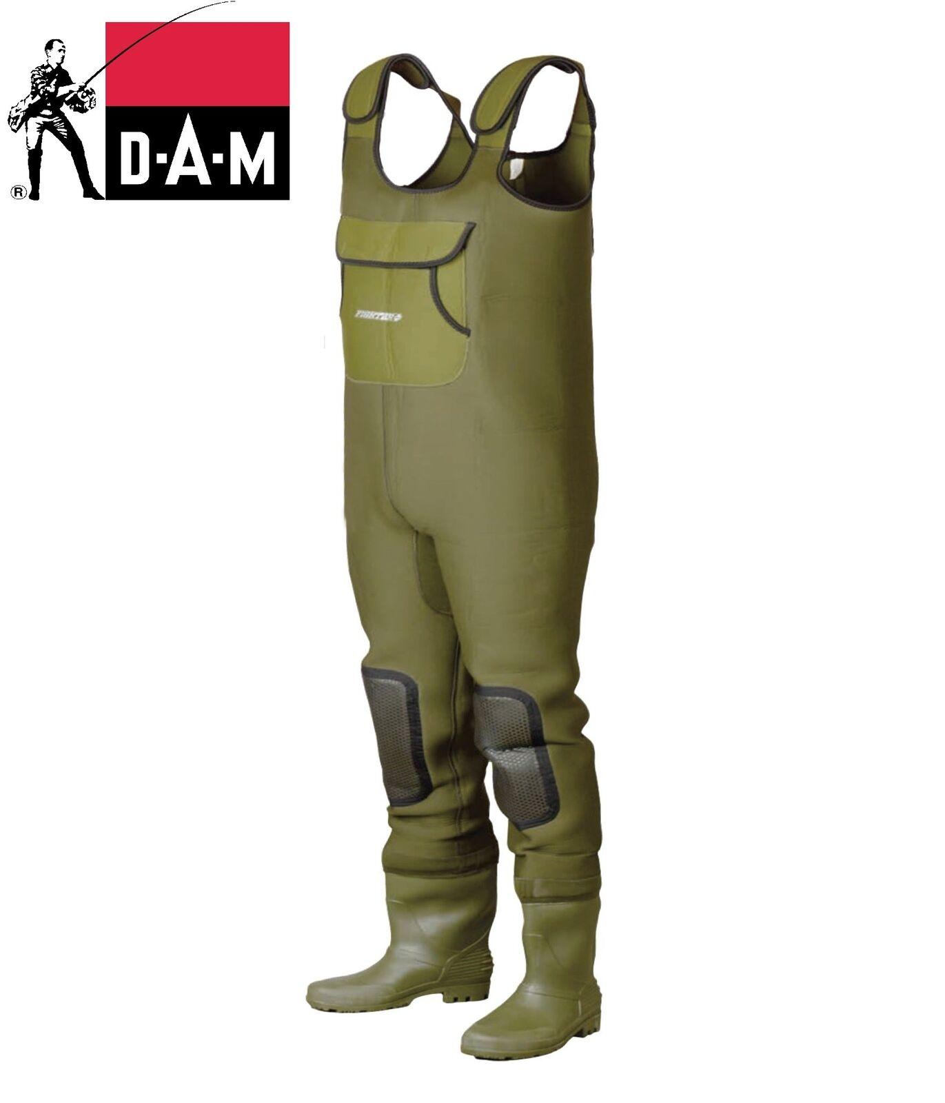 Dam Fighter Pro +  en el pecho de neopreno Wader impermeable Zapatos de pesca con mosca 40-47 Tamaños  respuestas rápidas