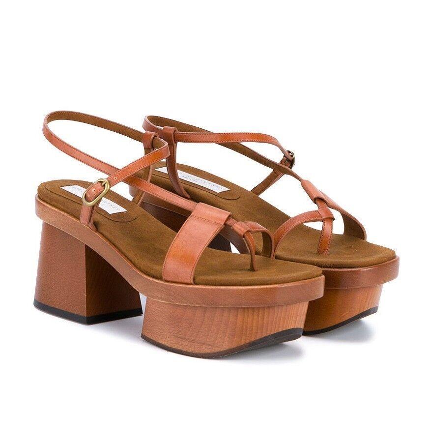New 9    39 Stella McCartney Altea Wood Faux Marronee Leather Platform Sandal  995  nelle promozioni dello stadio
