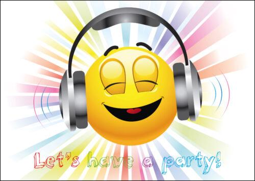 Lustiges Smiley-Einladungskarten-Set zum Kindergeburtstag LET´S HAVE A PARTY!