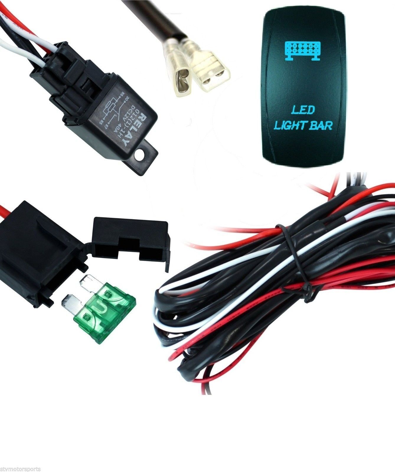 led light bar 40 amp wiring harness with relay and backlit blue switch ebay Engine Wiring Harness Wiring Harness Diagram