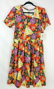 Lularoe Amelia Green Red Orange Floral Pattern Stretch A