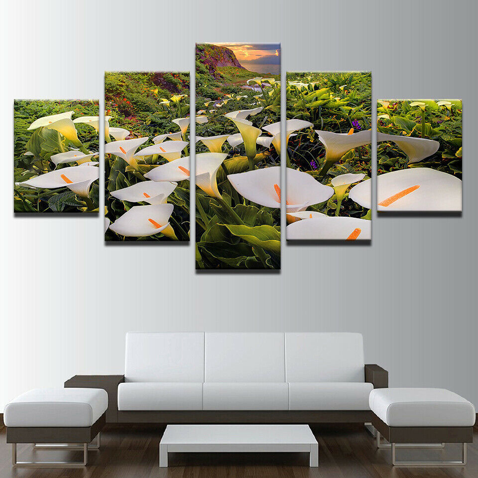 Flower Calla Lily Valley 5 panel canvas Wall Art Home Decor Print Poster