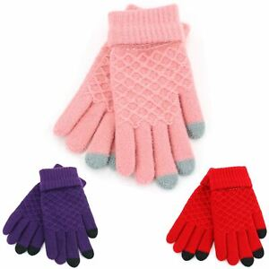 Knit-Gloves-Lattice-Pattern-Touch-Screen-Smart-Finger-Red-Pink-Purple-New