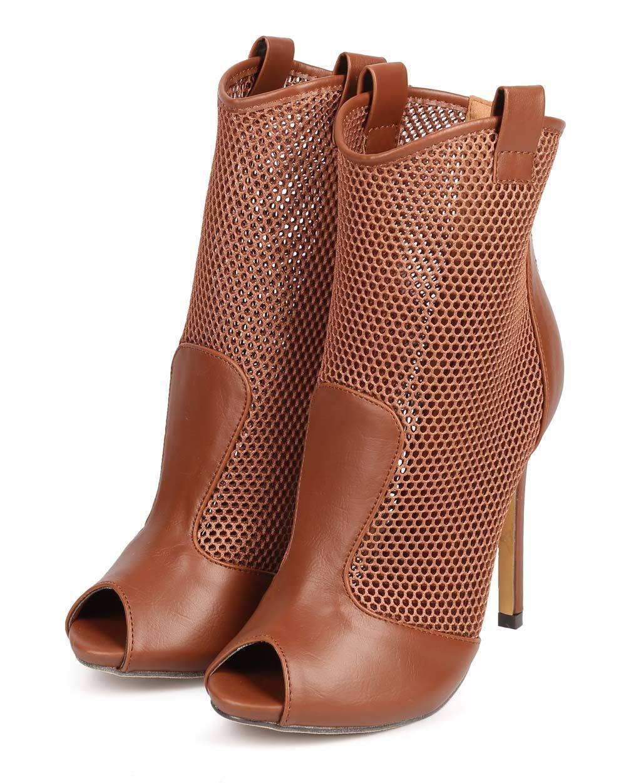 New Women Liliana Lory-18 Mesh Peep Toe Single Sole Stiletto Ankle Bootie Size