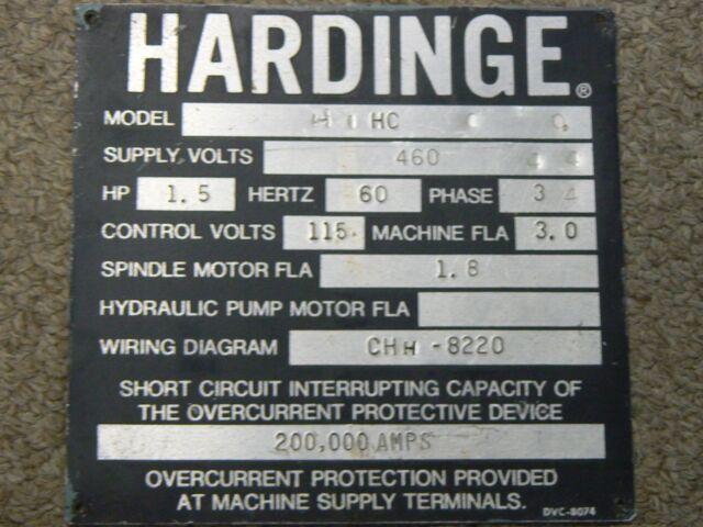 Hardinge Lathe Name ID Plate HC Chucker Nameplate Decal Emblem on