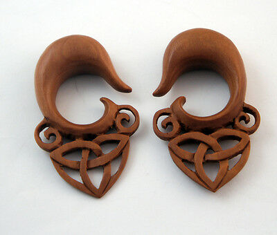 Pair Hand Carved Celtic Triquetra Triangle Organic Sawo Wood Ear Plugs Hanger US
