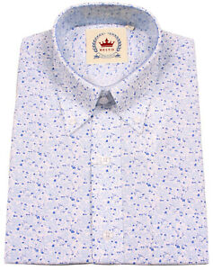 f7588ea63 Relco Floral Flower Shirt Short Sleeve Button Down Collar White Blue ...