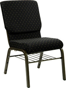 18.5''W BLACK DOT PATTERNED FABRIC CHURCH CHAIR, BOOK RACK - GOLD VEIN FRAME