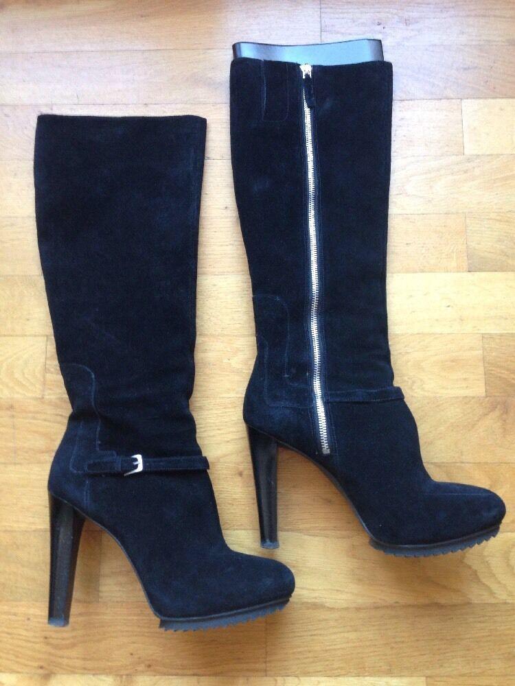 Nine knee-Length West tacón alto botas plataforma knee-Length Nine Boots Suede Negro SZ 9 NP 1d4a77