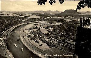 Saechsische-Schweiz-bei-Rathen-DDR-s-w-AK-1962-Blick-vom-Basteifelsen-Panorama