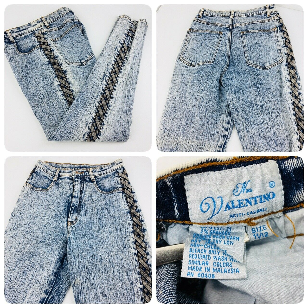 Nino Valentino Abiti Casuali Womens Sz 11 12 Vintage Braided Leg Denim Mom Jeans