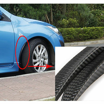 2x 24.5cm Black Carbon Fiber Car Fender Flares Wheel Eyebrow Lip Arch Protector