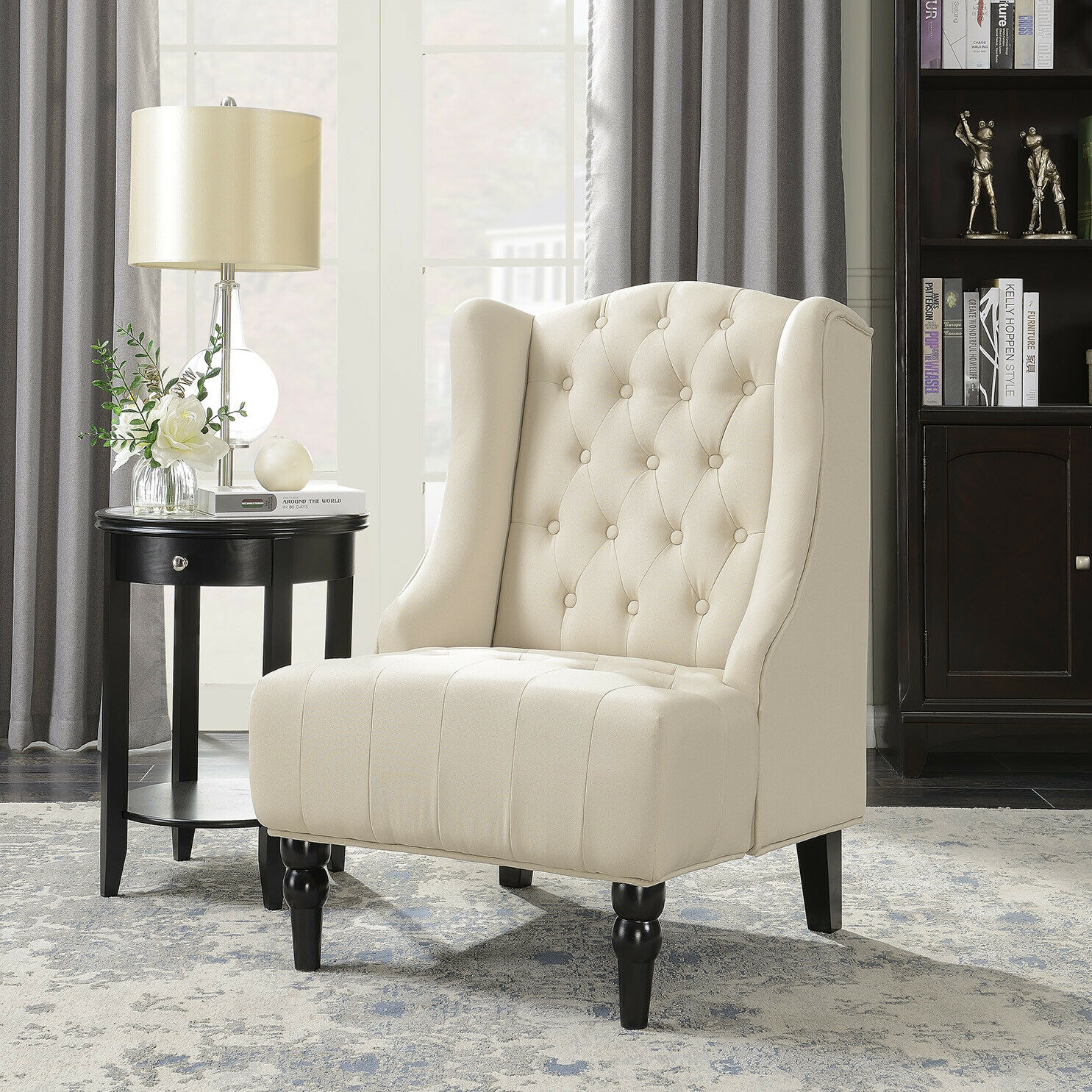 Astounding New French Vintage Inspired Tall Wingback Light Beige Tufted Fabric Accent Chair Evergreenethics Interior Chair Design Evergreenethicsorg