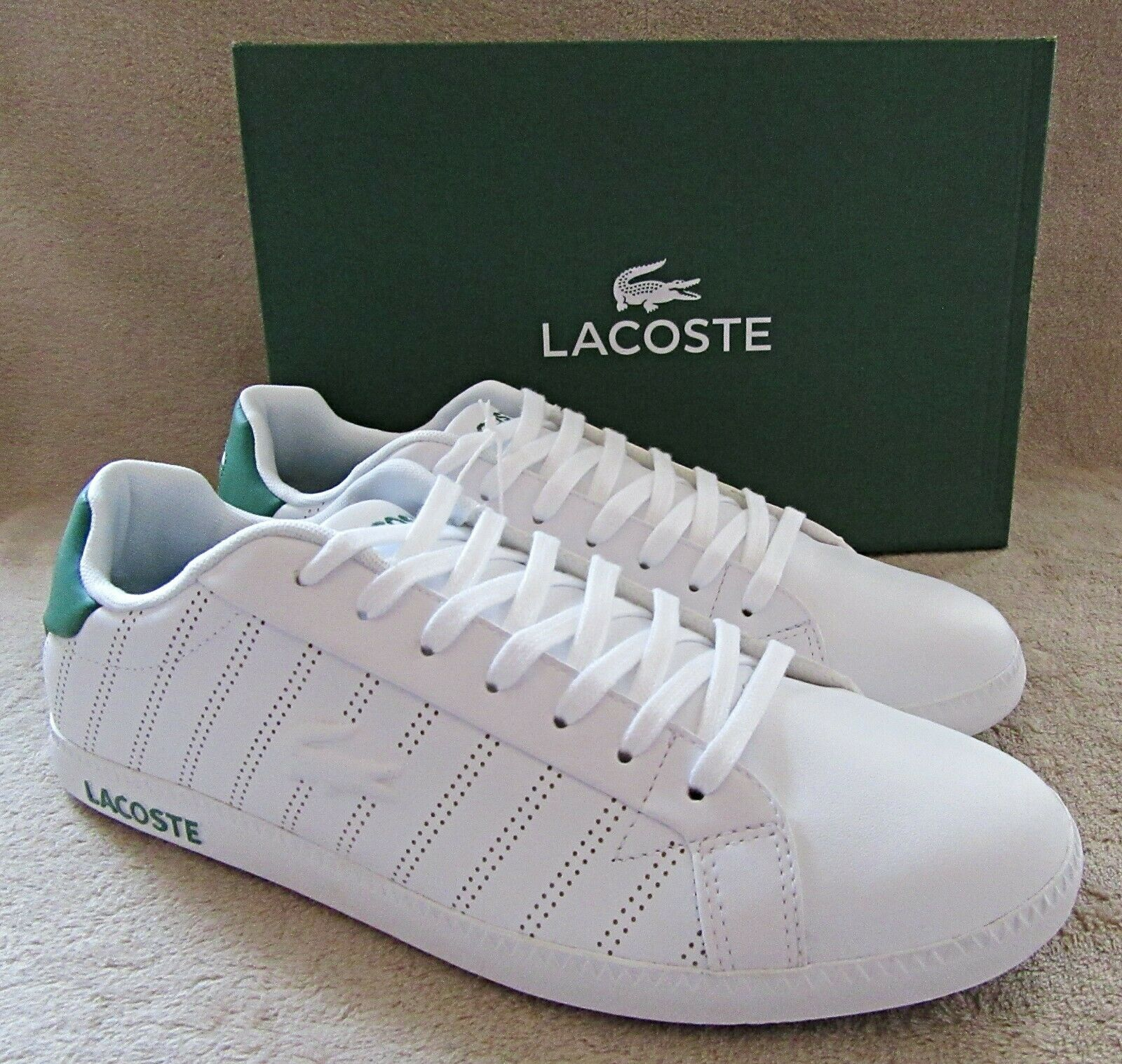 LACOSTE Graduate Mens White Green Leather Lace Sneakers shoes US 11 M NWB