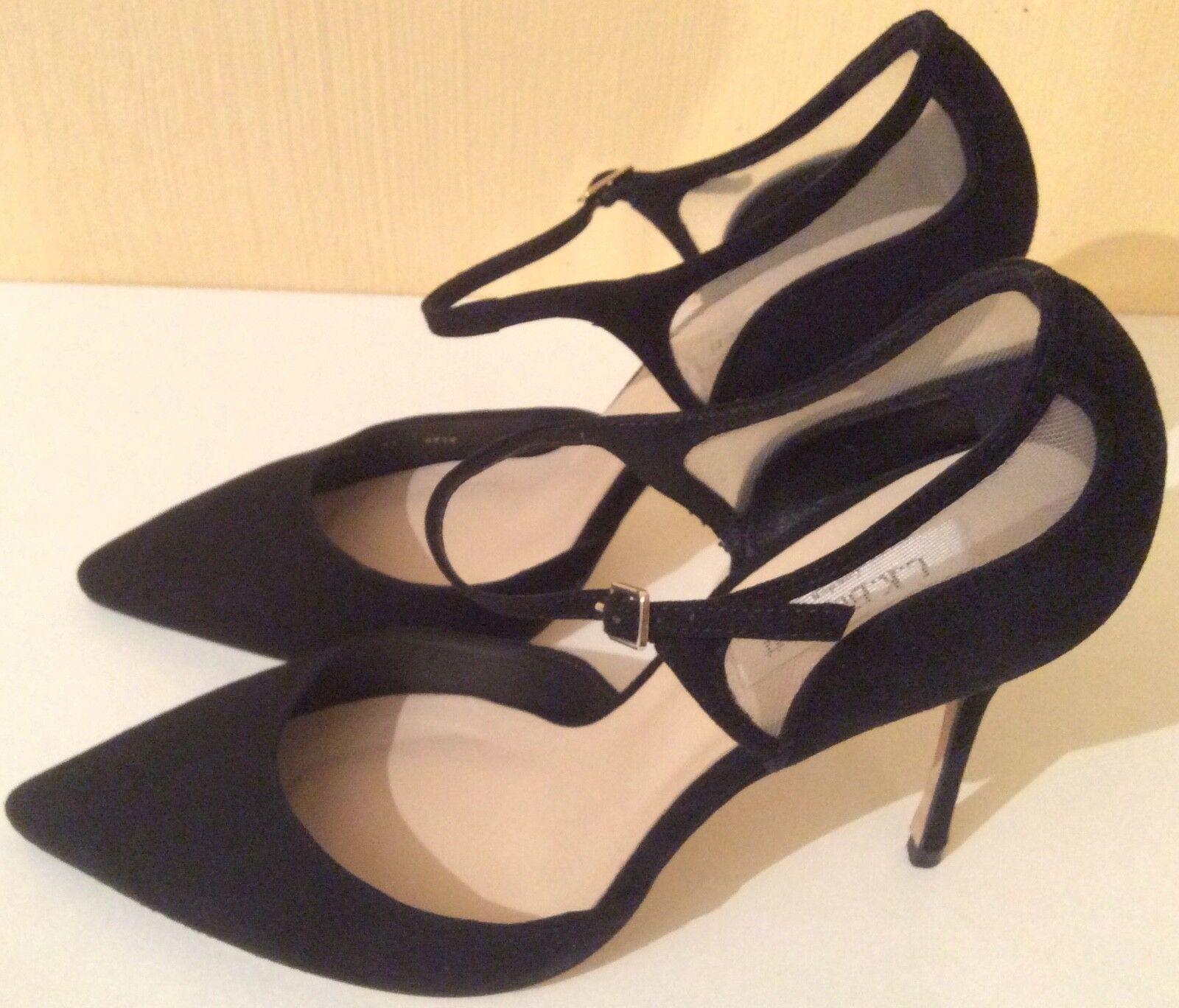 Nouveau Nouveau Nouveau LK BENNET  Evangelia  STILETTO CHATON en daim noir Chaussures cuir taille 7 41 4242e7