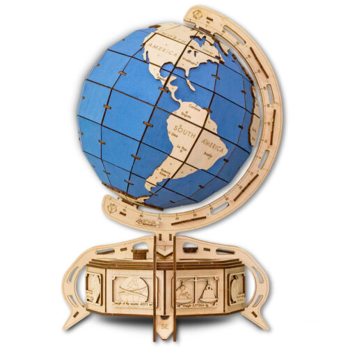 Eco Wood Art Wooden Models: Globe (blau)
