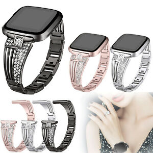 Lady-Rhinestone-Bling-Replacement-Wrist-Band-Watch-Strap-For-Fitbit-Versa-Smart