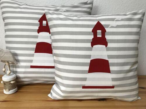 1Kissenhülle Maritim *Leuchtturm* Grau//weiß gestreift 50x50cm. Kissenbezug