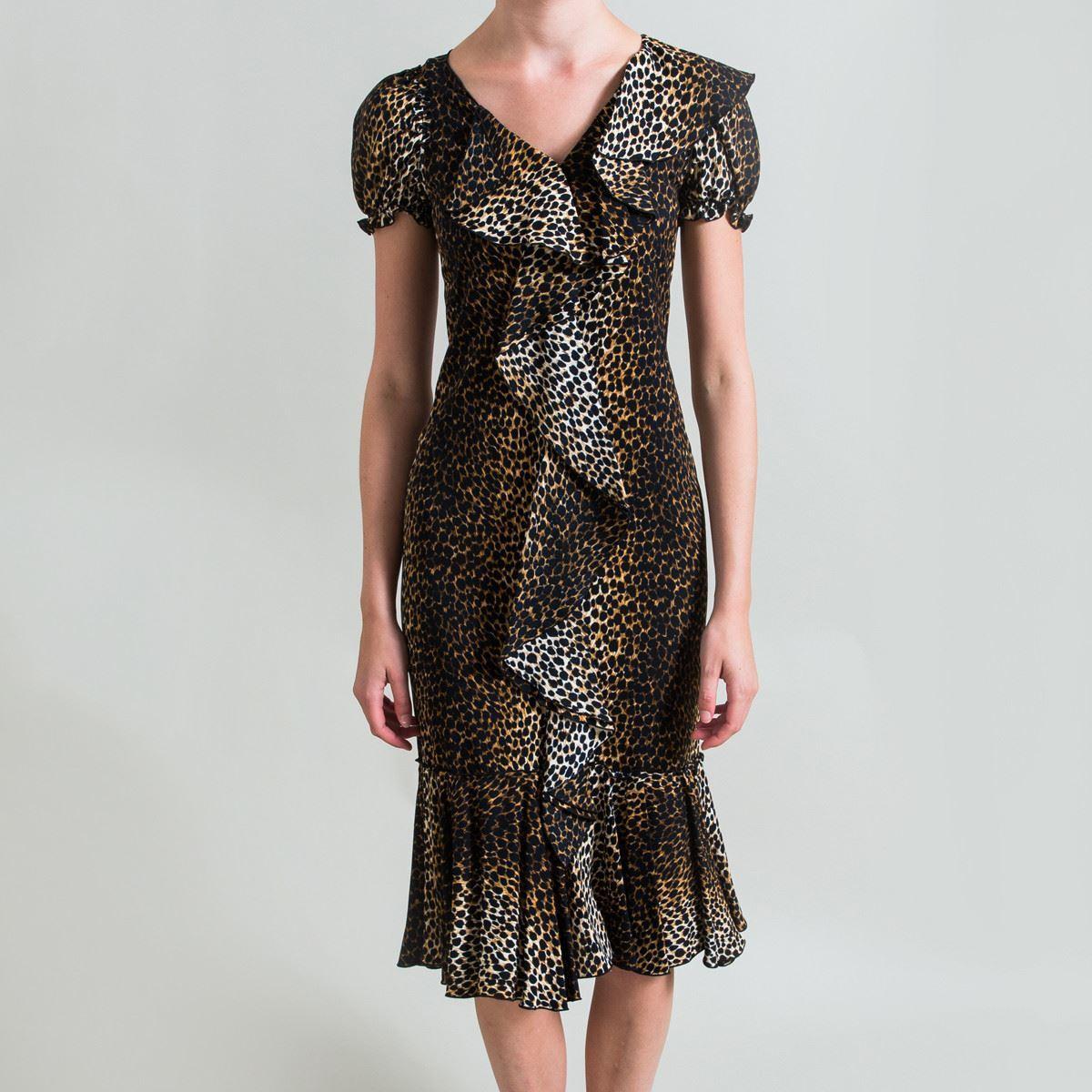 D&G D&G D&G Ruffled Leopard Print Dress - Size 36 b1c213