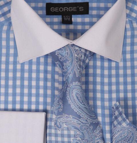 Hanky Set #615 Men/'s Checker Dress Shirt French Cuff w// Matching Cufflinks Tie